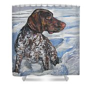 German Shorthaired Pointer In The Snowdrift Shower Curtain