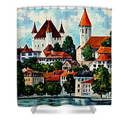 Germany - Clouds Above The Rhine Shower Curtain