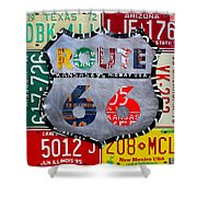 Get Your Kicks On Route 66 Recycled Vintage State License Plate Art By Design Turnpike Shower Curtain