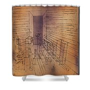 Ghost Chamber With The Tall Door New Version Shower Curtain