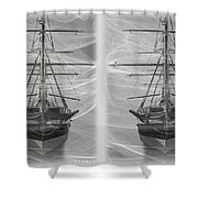 Ghost Ship - Gently Cross Your Eyes And Focus On The Middle Image Shower Curtain