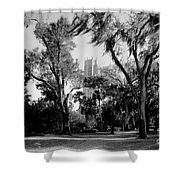 Ghostly Bok Tower Shower Curtain