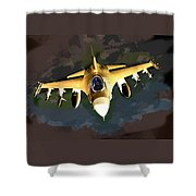 Ghostly Fighter Jet In The Sky Above The Earth Shower Curtain
