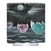 Giant Lilies Upon Misty Waters Shower Curtain