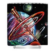 Giant, Old Red Space Shuttle Of Alien Civilization Shower Curtain