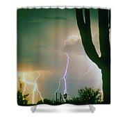 Giant Saguaro Cactus Lightning Storm Shower Curtain