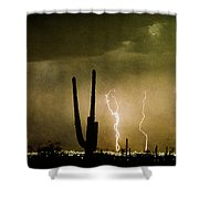 Giant Saguaro Southwest Lightning  Peace Out  Shower Curtain