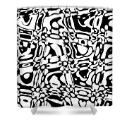 Gibberish Black And White Abstract Shower Curtain