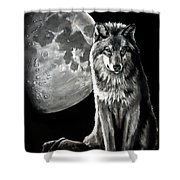 Gibbous Wolf Shower Curtain