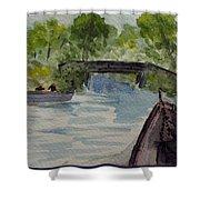 Giethoorn Boat Approaches Bridge Shower Curtain