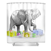Gift Wrapping Elephant Shower Curtain