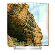 Gila Cliff Dwellings Looking Up Shower Curtain
