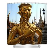 Gilded Statue Of A God At The Grand Shower Curtain