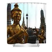 Gilded Statues Of Gods At The Grand Shower Curtain