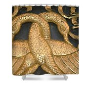 Gilded Temple Carving Of Geese Shower Curtain