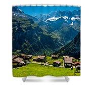 Gimmelwald In Swiss Alps - Switzerland Shower Curtain