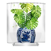 Ginger Jar Vase 1 With Monstera Shower Curtain
