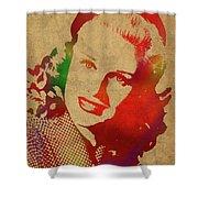 Ginger Rogers Watercolor Portrait Shower Curtain
