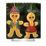 Gingerbread Christmas Ornaments Shower Curtain