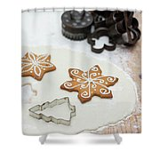 Gingerbread Making - Christmas Preparing With Vintage Kitchen Tools Shower Curtain