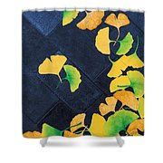 Ginkgo Leaves On Pavement Shower Curtain