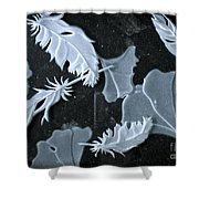 Ginko Leaves And Feathers Shower Curtain