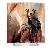 Giraffe Abstract Art 002 Shower Curtain