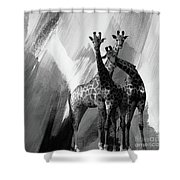 Giraffe Abstract Art Black And White Shower Curtain