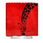 Giraffe Animal Decorative Red Wall Poster 3 - By  Diana Van Shower Curtain
