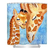 Giraffe Baby And Mother Shower Curtain