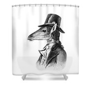 Giraffe In A Smoking Jacket With Top Hat Shower Curtain
