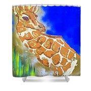 Giraffe Shower Curtain by J R Seymour