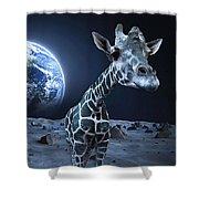 Giraffe On Moon Shower Curtain