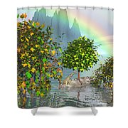 Giraffe Rainbow Heaven Shower Curtain