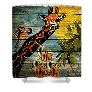 Giraffe Rustic Shower Curtain