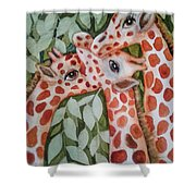 Giraffe Trio By Christine Lites Shower Curtain by Allen Sheffield