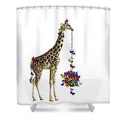 Giraffe With Colorful Rainbow Butterflies Shower Curtain
