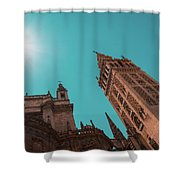 La Giralda Bell Tower Brilliantly Lit In Teal And Orange Shower Curtain