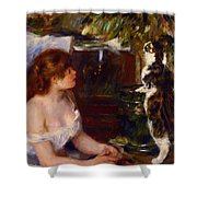 Girl And Cat 1882 Shower Curtain