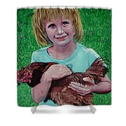 Girl And Chicken Shower Curtain
