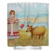 Girl And Deer Shower Curtain