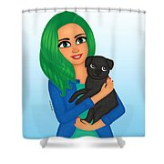 Girl And Dog Pet Shower Curtain