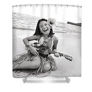 Girl And Her Ukulele Shower Curtain
