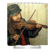 Girl And Her Violin Shower Curtain