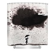 Girl And Ink Cloud Rain Shower Curtain