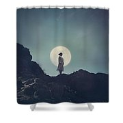 Girl And The Moon Shower Curtain