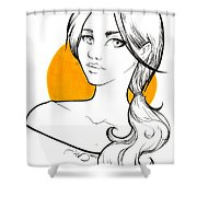 Girl And Yellow Shower Curtain