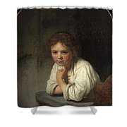 Girl At A Window  Shower Curtain