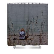 Girl At Beach Shower Curtain