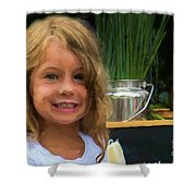 Girl At Market M1 10479vc Shower Curtain